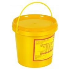 Емкость-контейнер одноразовая (желтого цвета) МК-02 «МедКом» (для сбора органических отходов класса Б), 1,0 л., с индикатором вскрытия.