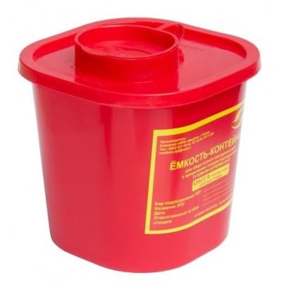 Емкость-контейнер одноразовая (красного цвета) (для сбора острого инструментария класса В), 1,0 л.