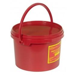 Емкость-контейнер одноразовая (красного цвета) МК-02 МедКом (для сбора органических отходов класса В), 3,0 л., с индикатором вскрытия.