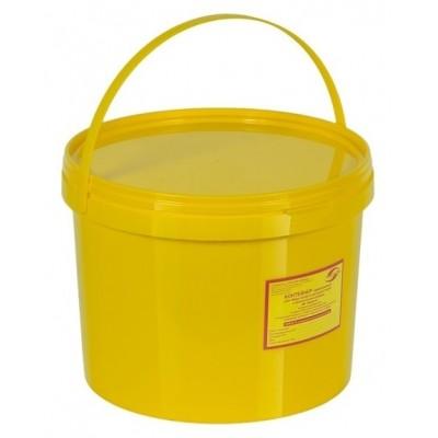 Емкость-контейнер одноразовая (желтого цвета) МК-02 МедКом (для сбора органических отходов класса Б), 10,0 л., с индикатором вскрытия.