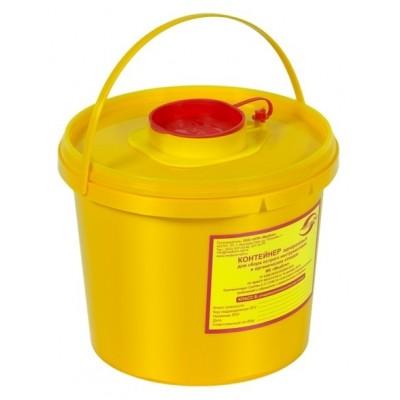 Емкость-контейнер одноразовая (желтого цвета) МК-01 МедКом (для сбора острого инструментария класса Б), 2,0 л.