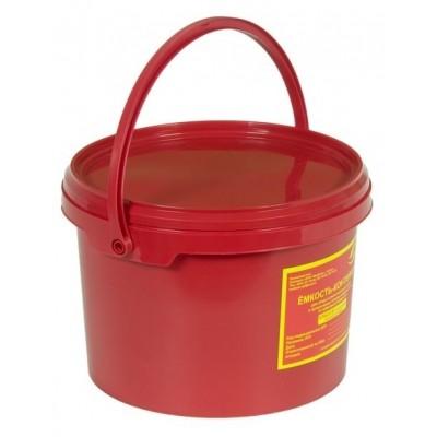 Емкость-контейнер одноразовая (красного цвета) (для сбора органических отходов класса В), 3,0 л., с индикатором вскрытия.