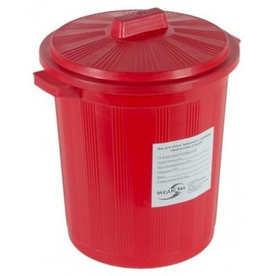 Бак для сбора, хранения и перевозки медицинских отходов (многоразовый с крышкой), 65 л красный