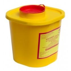 Емкость-контейнер одноразовая (желтого цвета) МК-01 МедКом (для сбора острого инструментария класса Б), 1,0 л.