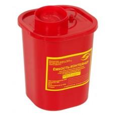 Емкость-контейнер одноразовая (красного цвета) МК-01 МедКом (для сбора острого инструментария класса В), 1,5 л.