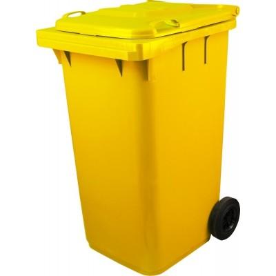 Мусорный контейнер желтый, 240 литров с педалью