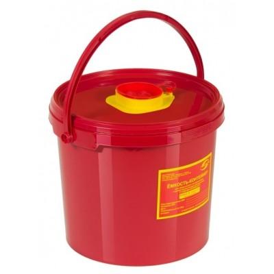 Емкость-контейнер одноразовая (красного цвета) МК-01 МедКом (для сбора острого инструментария класса В), 6,0 л.
