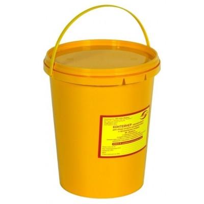 Емкость-контейнер одноразовая (желтого цвета) МК-02 МедКом (для сбора органических отходов класса Б), 3,0 л., с индикатором вскрытия.