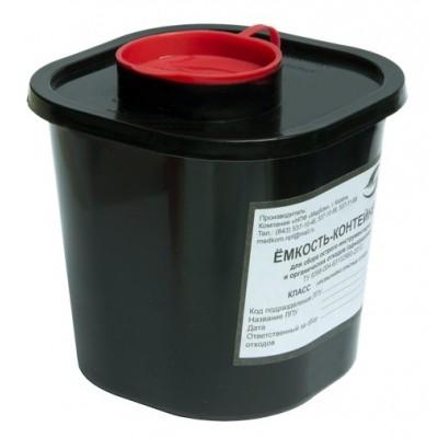 Емкость-контейнер одноразовая (черного цвета) МК-01 МедКом (для сбора острого инструментария класса Г), 1,5 л.