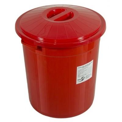 Бак для сбора, хранения и перевозки медицинских отходов (многоразовый с крышкой), 50 л красный