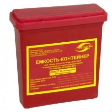 Емкость-контейнер одноразовая (красного цвета) МК-01 МедКом (для сбора острого инструментария класса В), 0,25 л