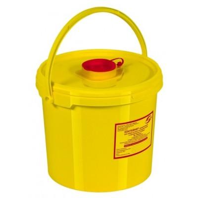 Емкость-контейнер одноразовая (желтого цвета) МК-01 МедКом (для сбора острого инструментария класса Б), 10,0 л.