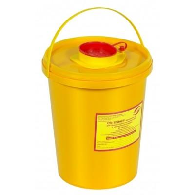 Емкость-контейнер одноразовая (желтого цвета) МК-01 МедКом (для сбора острого инструментария класса Б), 3,0 л.