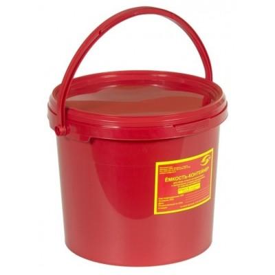 Емкость-контейнер одноразовая (красного цвета) МК-02 МедКом (для сбора органических отходов класса В), 6,0 л., с индикатором вскрытия.