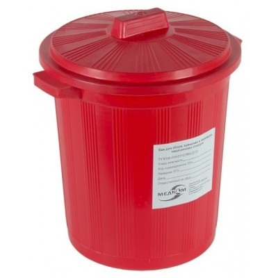 Бак для сбора, хранения и перевозки медицинских отходов МК-03 МедКом (многоразовый с крышкой), 20 л красный