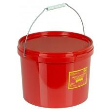 Емкость-контейнер одноразовая (красного цвета) МК-02 МедКом (для сбора органических отходов класса В), 10,0 л., с индикатором вскрытия.