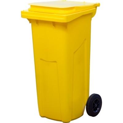 Мусорный контейнер Инновация желтый, 120 литров с педалью
