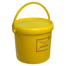 Емкость-контейнер одноразовая (желтого цвета) МК-02 МедКом (для сбора органических отходов класса Б), 6,0 л., с индикатором вскрытия.